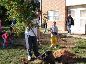 GreenWorks tree planting at Deaverview Apartments